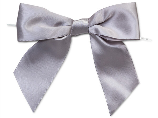 "5"" Silver Pre-Tied Satin Gift Bows with Twist Ties, 12 pack"