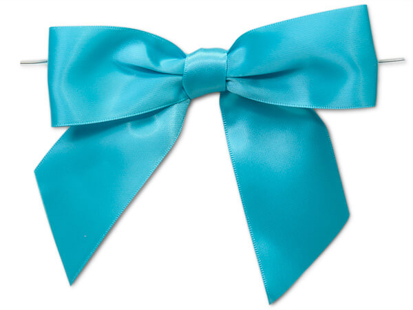 """5"""" Turquoise Pre-Tied Satin Gift Bows with Twist Ties, 12 pack"""