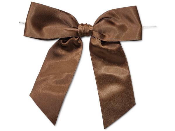 Chocolate Satin Pre-tied Bows
