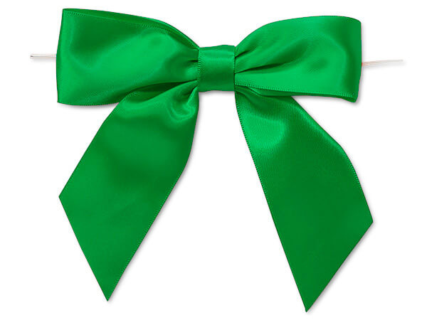 """5"""" Kelly Green Pre-Tied Satin Gift Bows with Twist Ties, 12 pack"""