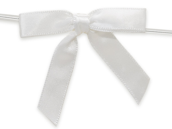 """2"""" White Pre-Tied Satin Gift Bows with Twist Ties, 12 pack"""