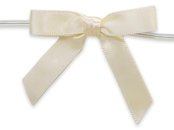 "Ivory 2"" Pre-tied Satin Bows With 4-1/2"" Twist Ties~ 3/8"" Ribbon"