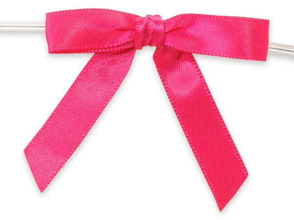 """2"""" Hot Pink Pre-Tied Satin Gift Bows with Twist Ties, 12 pack"""