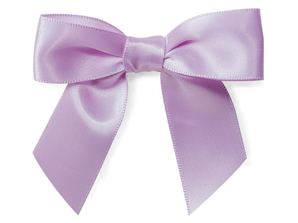 "Lavender 2"" Pre-tied Satin Bows With 4-1/2"" Twist Ties ~ 3/8 Ribbon"