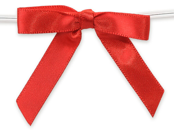 """2"""" Red Pre-Tied Satin Gift Bows with Twist Ties, 12 pack"""