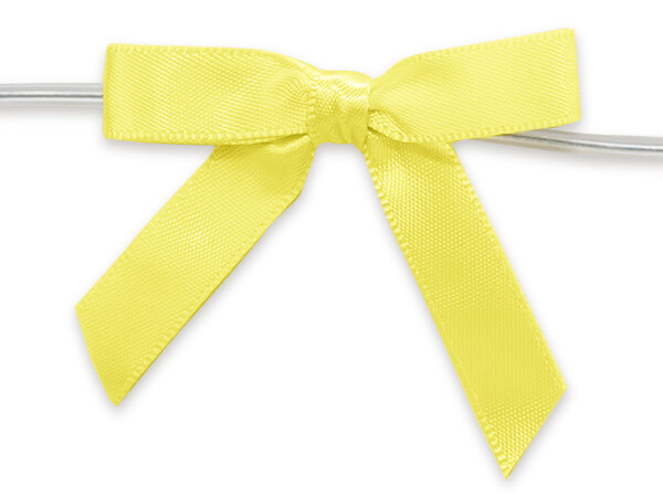 """Yellow 2"""" Pre-tied Satin Bows With 4-1/2"""" Twist Ties~ 3/8 Ribbon"""