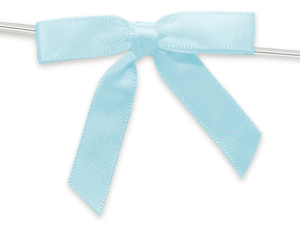 """2"""" Light Baby Blue Pre-Tied Satin Gift Bows with Twist Ties, 12 pack"""