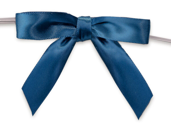 """Navy Blue 2"""" Pre-tied Satin Bows With 4-1/2"""" Twist Ties ~ 3/8 Ribbon"""