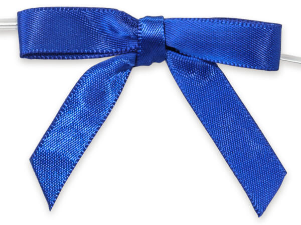 """2"""" Royal Blue Pre-Tied Satin Gift Bows with Twist Ties, 12 pack"""
