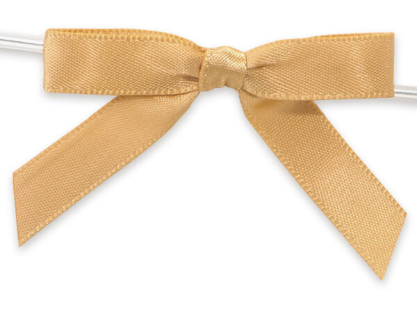 """2"""" Gold Pre-Tied Satin Gift Bows with Twist Ties, 12 pack"""