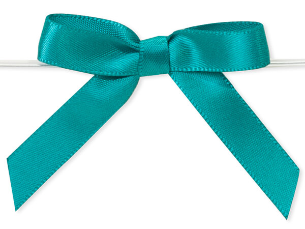 """2"""" Teal Pre-Tied Satin Gift Bows with Twist Ties, 12 pack"""