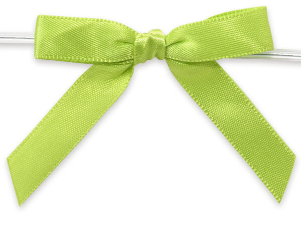 """2"""" Lime Green Pre-Tied Satin Gift Bows with Twist Ties, 12 pack"""