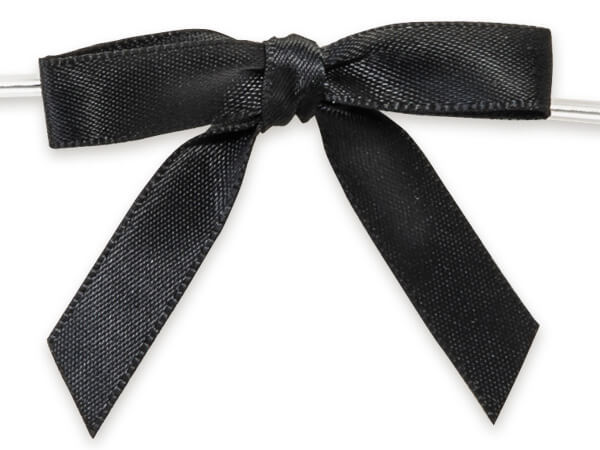 """2"""" Black Pre-Tied Satin Gift Bows with Twist Ties, 12 pack"""