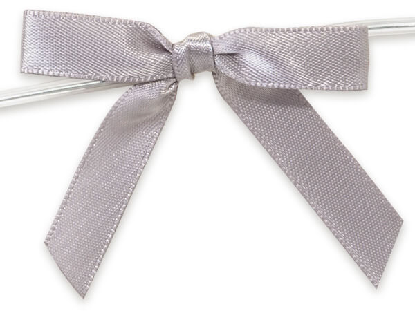 "Silver 2"" Pre-tied Satin Bows With 4-1/2"" Twist Ties~ 3/8"" Ribbon"