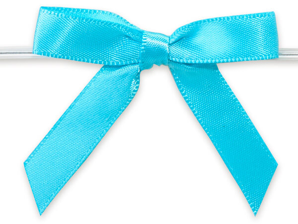 "Turquoise 2"" Pre-tied Satin Bows With 4-1/2"" Twist Ties~ 3/8"" Ribbon"