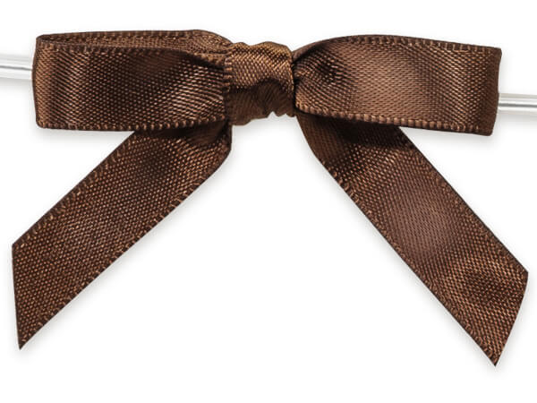 "Chocolate 2"" Pre-tied Satin Bows With 4-1/2"" Twist Ties~ 3/8"" Ribbon"