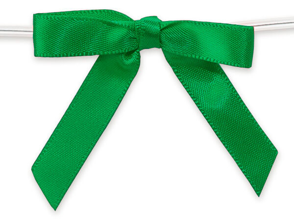 """2"""" Kelly Green Pre-Tied Satin Gift Bows with Twist Ties, 12 pack"""