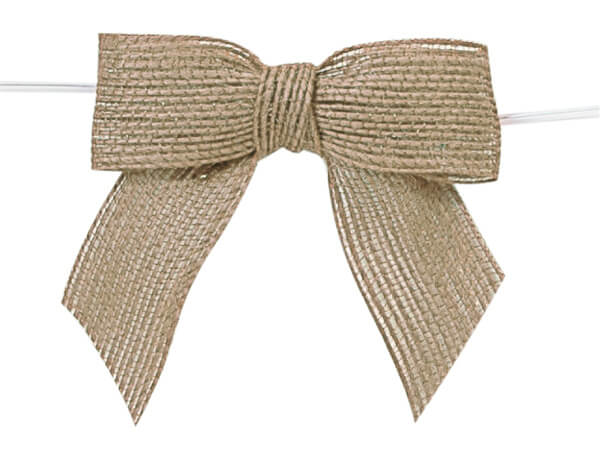 "3"" Natural Pre-Tied Jute Bows with Twist Ties, 12 pack"