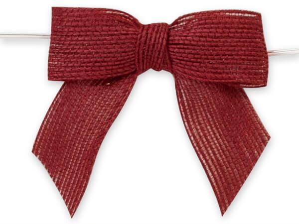 "3"" Red Pre-Tied Jute Bow with Twist Ties, 12 pack"