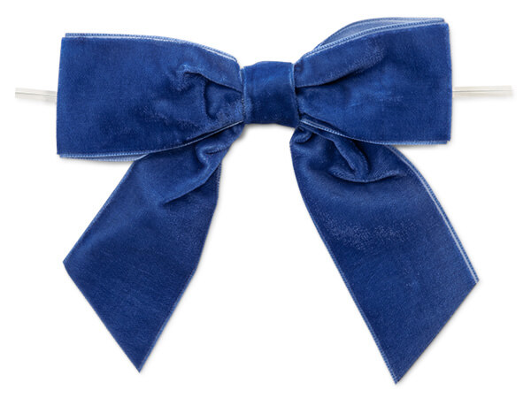 "**5"" Royal Blue Velvet Pre-Tied Gift Bows with twist ties, 12 pack"