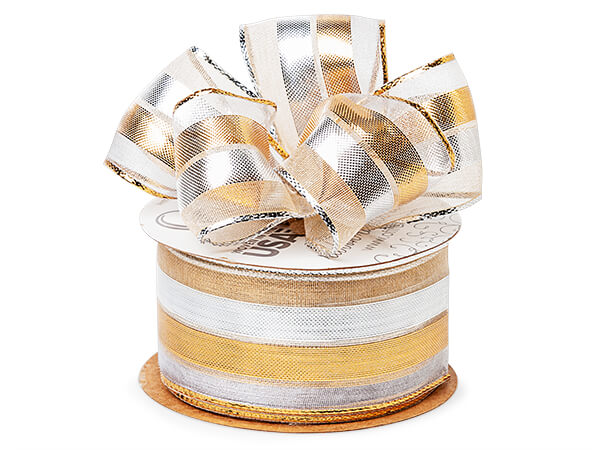 """Metallic Silver and Gold Stripe Sheer Wired Ribbon, 1-1/2""""x50 yards"""
