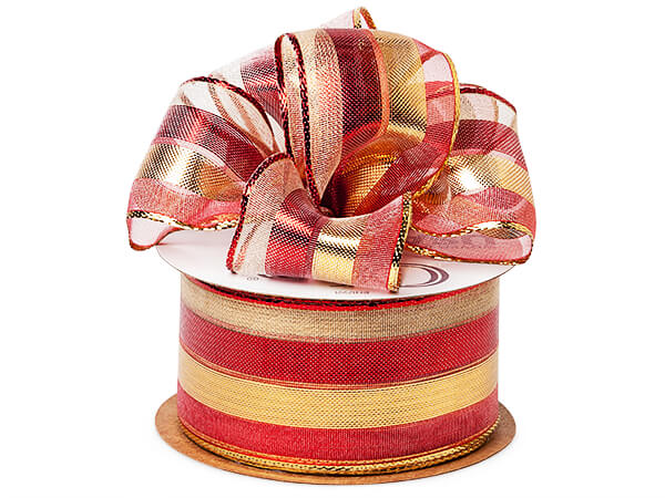 "Metallic Red and Gold Stripe Sheer Wired Ribbon, 1-1/2"" x 50 yards"