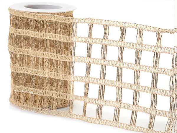 "*Soft Gold Open Weave Wide Mesh Ribbon, 4"" x 10 yards"
