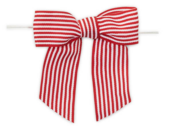 Red Pre-tied Striped Bow