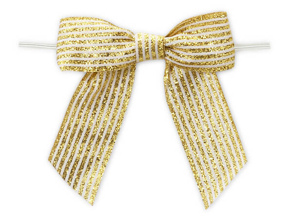 """3"""" Metallic Gold Pre-tied Stripes Grosgrain Gift Bows, 24 pack"""