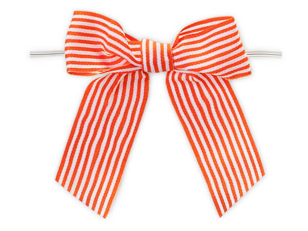 "Tropical Orange 3"" Pre-tied Stripe Bows with 6"" twist ties-7/8"" ribbon"