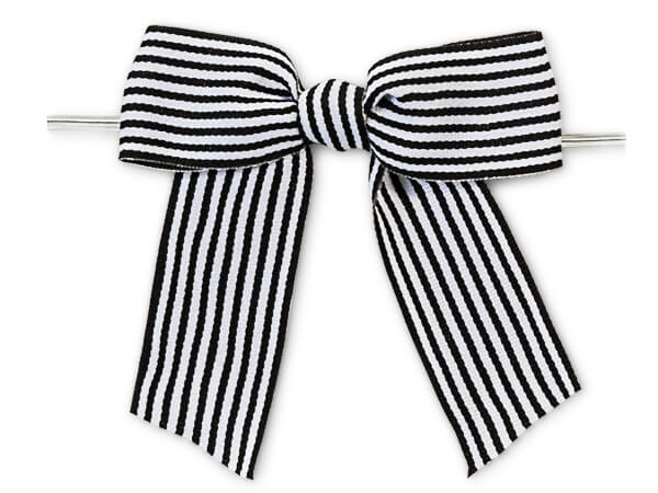 "3"" Black and White Stripes Pre-Tied Grosgrain Gift Bows, 24 pack"