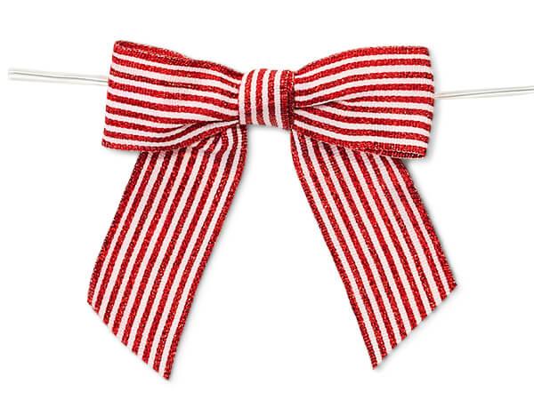 Metallic Red Stripe Pre-tied Bows
