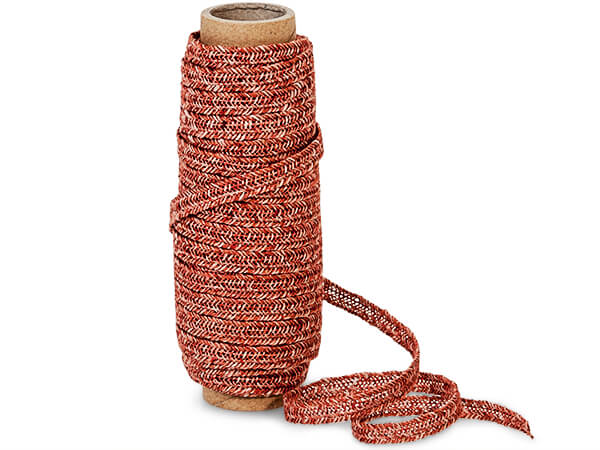 """Red and Tan Braided Linen Cord, 1/4""""x10 yards"""