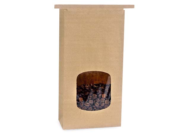 "500 1 lb Kraft Window Coffee Bags 4-3/4""x2-1/2""x9-1/2"""