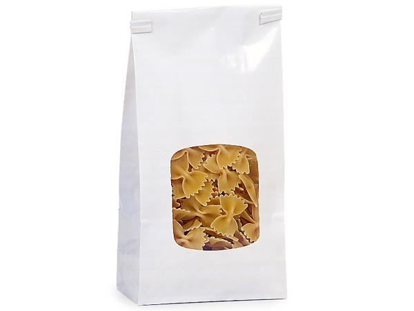"500 1 lb White Window Coffee Bags 4-3/4""x2-1/2""x9-1/2"""