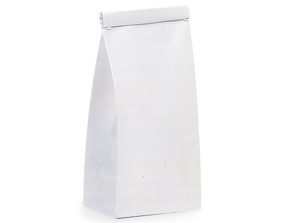 "1000 1/2 lb White Coffee Bags 3-3/8""x2-1/2""x7-3/4"""