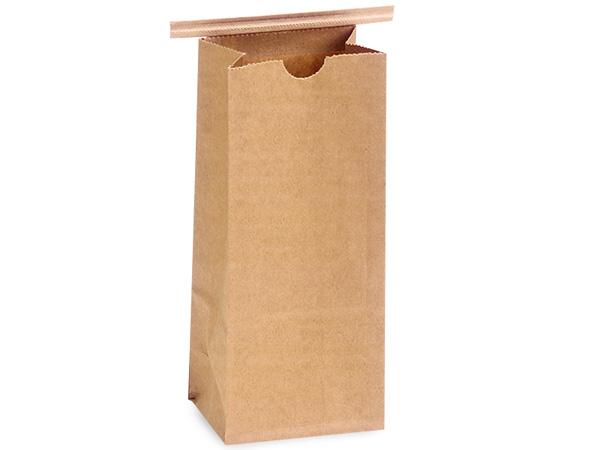 "100 Pack 1 lb Kraft Coffee Bags 4-1/4""x2-1/2""x10-1/2"""