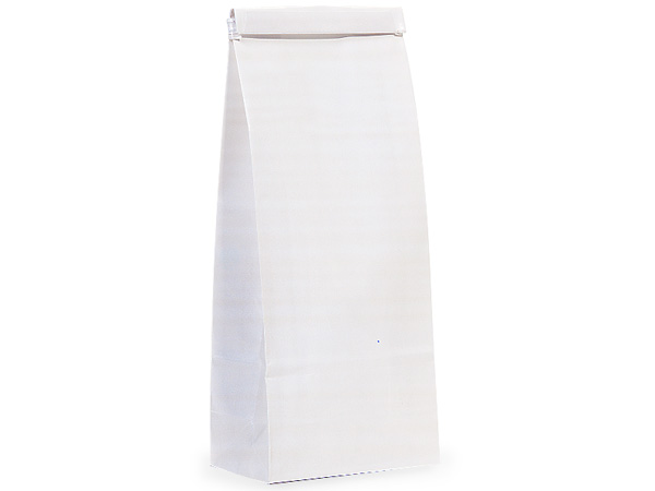 "1000 1 lb White Tin Tie Coffee Bags 4-1/4""x2-1/2""x10-1/2"""