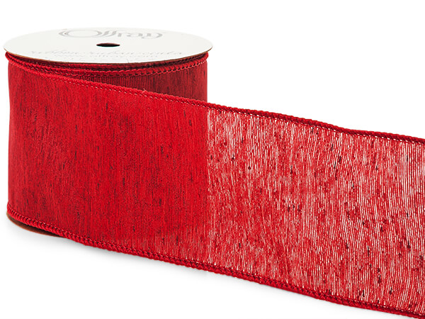 "Rustic Red Linen Blend Wired Ribbon, 2-1/2""x10 yards"