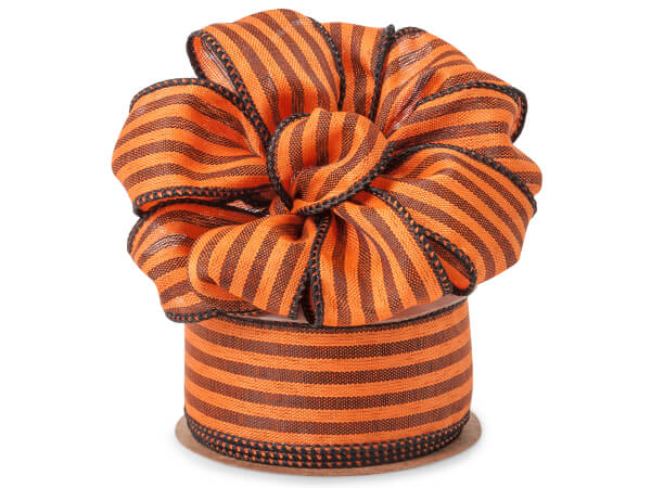 """Orange and Black Striped Wired Linen Ribbon, 1-1/2""""x10 yards"""