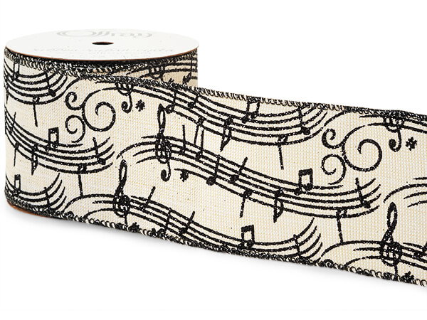 """*Glittery Black Music Notes on Ivor Wired Ribbon, 2-1/2""""x10 yards"""