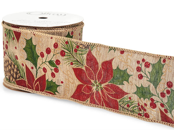 """*Christmas Holly on Natural Linen Wired Ribbon, 2-1/2"""" x 10 yards"""