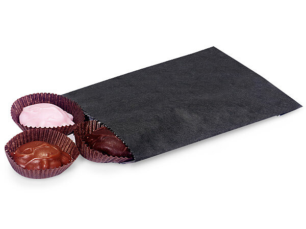 "Black 1/4 lb Paper Candy Bags 4.75x6.75"", 1000 Pack"