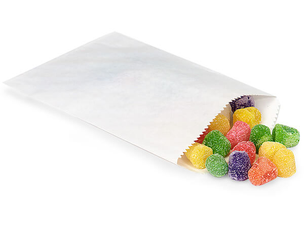 "White 1/4 lb Paper Candy Bags 4.75x6.75"", 100 Pack"
