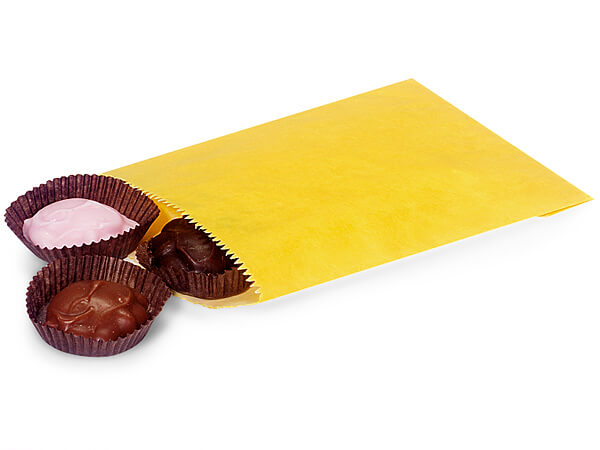 "Yellow 1/4 lb Paper Candy Bags 4.75x6.75"", 1000 Pack"