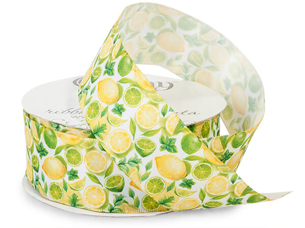 "Lemon and Lime Wired Ribbon, 1-1/2"" x 10 yards"