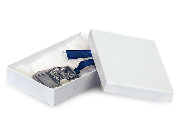 """White Embossed Swirl Jewelry Boxes, 6x4x1"""", 100 Pack, Cotton Fill"""