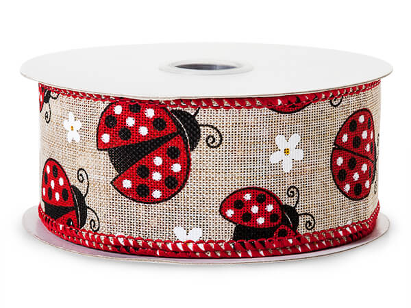 "Lady Bug Natural Wired Ribbon 1-1/2"" x 10 yards"