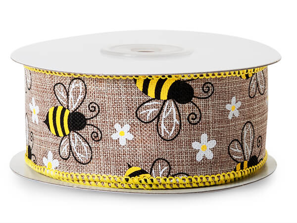 "Honey Bee Natural Wired Ribbon 1-1/2"" x 10 yards"