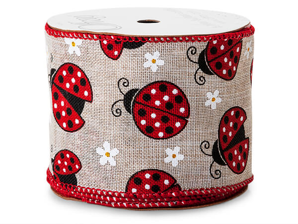 "Lady Bug Natural Wired Ribbon 2-1/2"" x 10 yards"
